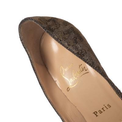 Christian Louboutin Metallic Leopard Print Lame Fabric Very Prive Peep Toe Pumps Size 36 293786 - 6