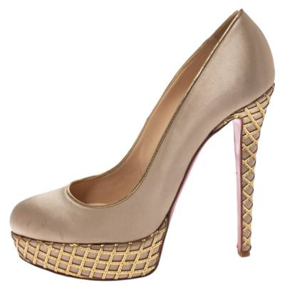 Christian Louboutin Beige Satin And Leather Cut Out Detail Bianca Platform Pumps Size 38.5 294267 - 1