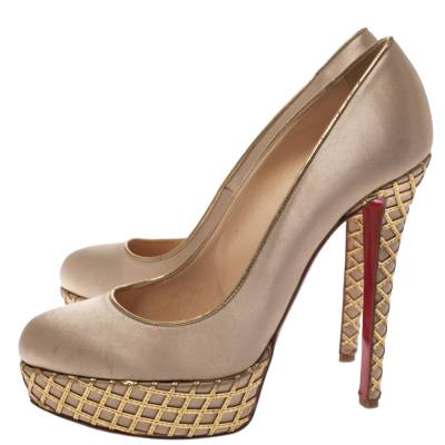 Christian Louboutin Beige Satin And Leather Cut Out Detail Bianca Platform Pumps Size 38.5 294267 - 3