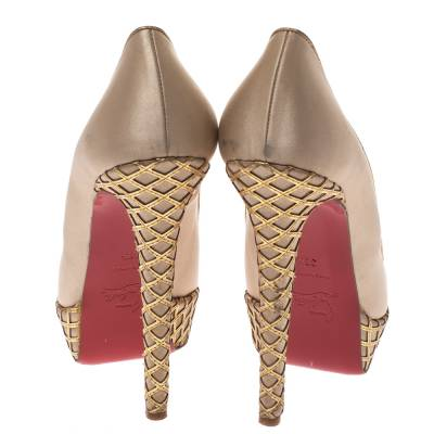 Christian Louboutin Beige Satin And Leather Cut Out Detail Bianca Platform Pumps Size 38.5 294267 - 4