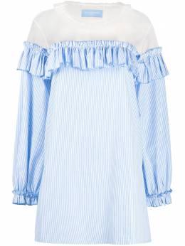 Viktor & Rolf полосатое платье с прозрачной вставкой 64APOPELINELIGHTBLUE