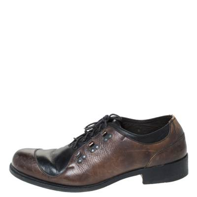 Fendi Black/Brown Leather Oxfords Size 43 294467 - 1