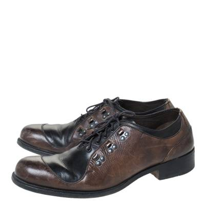 Fendi Black/Brown Leather Oxfords Size 43 294467 - 3