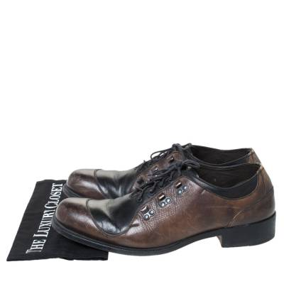 Fendi Black/Brown Leather Oxfords Size 43 294467 - 7