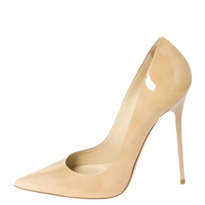 Jimmy Choo Beige Patent Leather Ava Pointed Toe Pumps Size 37 294466 - 1