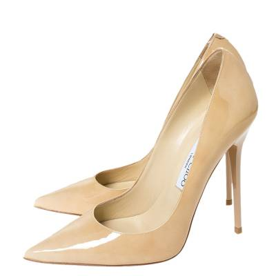 Jimmy Choo Beige Patent Leather Ava Pointed Toe Pumps Size 37 294466 - 3