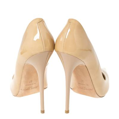Jimmy Choo Beige Patent Leather Ava Pointed Toe Pumps Size 37 294466 - 4