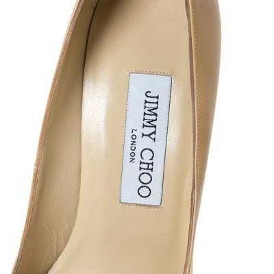 Jimmy Choo Beige Patent Leather Ava Pointed Toe Pumps Size 37 294466 - 6