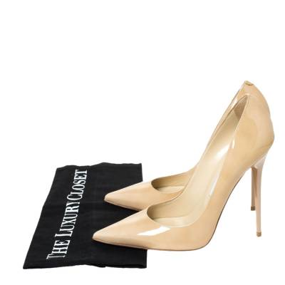 Jimmy Choo Beige Patent Leather Ava Pointed Toe Pumps Size 37 294466 - 7