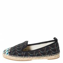 Fendi Multicolor Printed Canvas and Leather Cap Toe Flat Espadrilles Size 38.5 294465