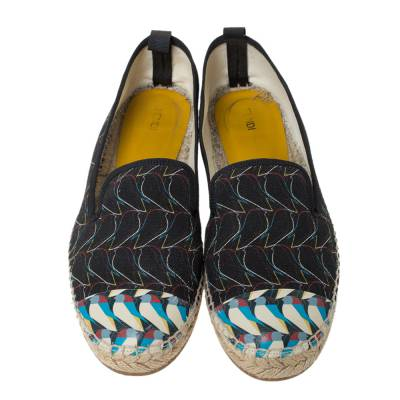 Fendi Multicolor Printed Canvas and Leather Cap Toe Flat Espadrilles Size 38.5 294465 - 2