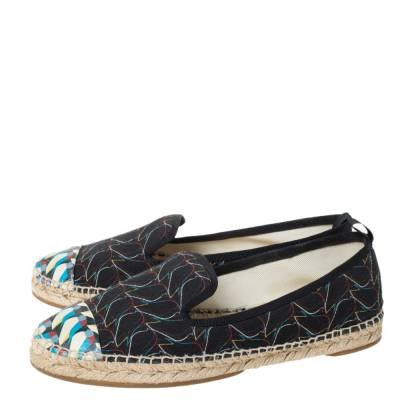 Fendi Multicolor Printed Canvas and Leather Cap Toe Flat Espadrilles Size 38.5 294465 - 3