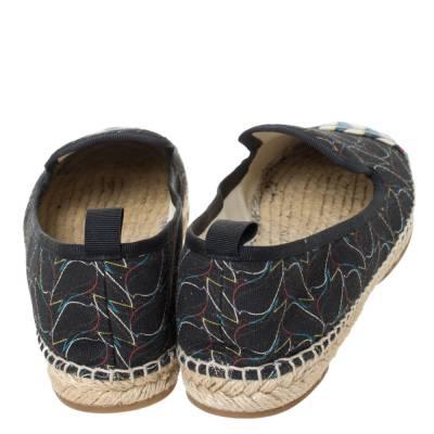 Fendi Multicolor Printed Canvas and Leather Cap Toe Flat Espadrilles Size 38.5 294465 - 4