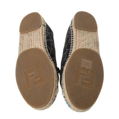 Fendi Multicolor Printed Canvas and Leather Cap Toe Flat Espadrilles Size 38.5 294465 - 5