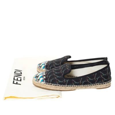 Fendi Multicolor Printed Canvas and Leather Cap Toe Flat Espadrilles Size 38.5 294465 - 7