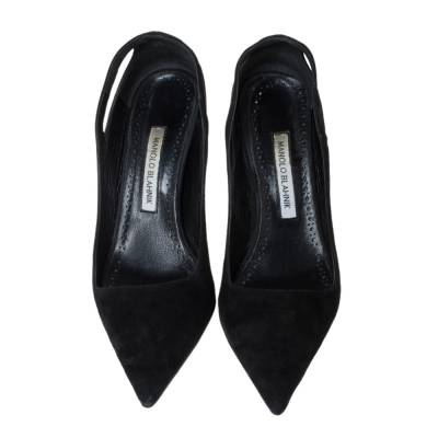 Manolo Blahnik Black Suede Cut Out Detail Pointed Toe Pumps Size 39 294462 - 2
