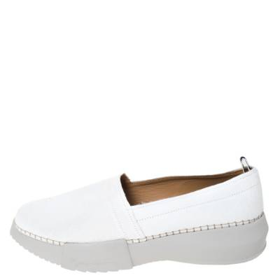 Giorgio Armani White Canvas Platform Slip On Loafers Size 41 294469 - 1