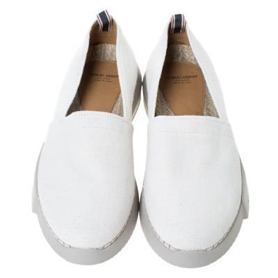 Giorgio Armani White Canvas Platform Slip On Loafers Size 41 294469 - 2
