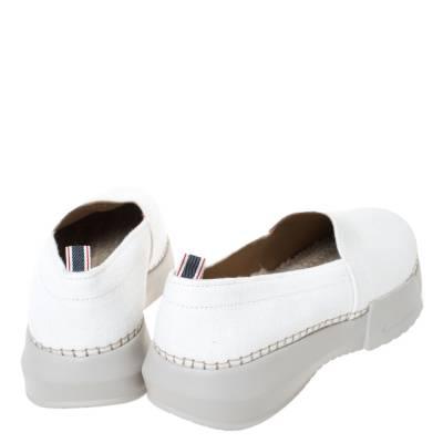 Giorgio Armani White Canvas Platform Slip On Loafers Size 41 294469 - 4