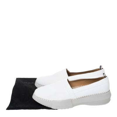 Giorgio Armani White Canvas Platform Slip On Loafers Size 41 294469 - 7