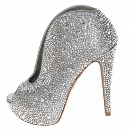 Gina Grey Satin Crystal Embellished Calamity Boots Size 37.5 294468