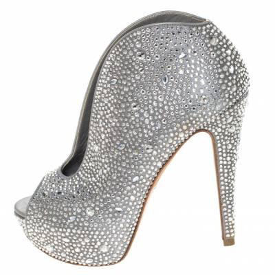 Gina Grey Satin Crystal Embellished Calamity Boots Size 37.5 294468 - 1