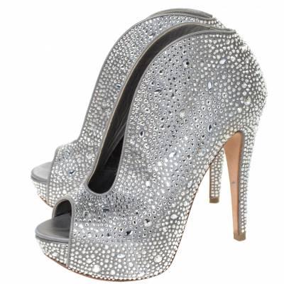 Gina Grey Satin Crystal Embellished Calamity Boots Size 37.5 294468 - 3