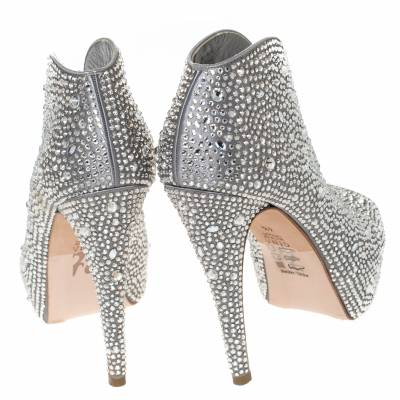 Gina Grey Satin Crystal Embellished Calamity Boots Size 37.5 294468 - 4