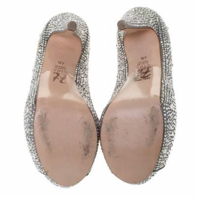 Gina Grey Satin Crystal Embellished Calamity Boots Size 37.5 294468 - 5