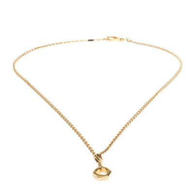 Prada Heart Charm Gold Tone Chain Link Long Necklace 294405 - 2