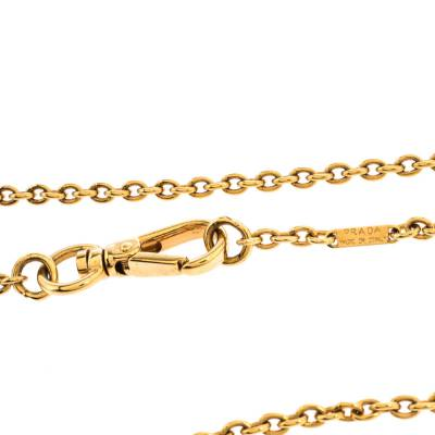 Prada Heart Charm Gold Tone Chain Link Long Necklace 294405 - 4