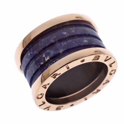 Bvlgari B.Zero1 Lapis Lazuli 18K Rose Gold Band Ring Size 48 294408 - 2