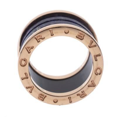 Bvlgari B.Zero1 Lapis Lazuli 18K Rose Gold Band Ring Size 48 294408 - 3