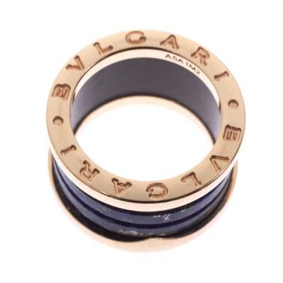 Bvlgari B.Zero1 Lapis Lazuli 18K Rose Gold Band Ring Size 48 294408 - 4