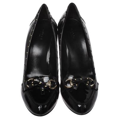Gucci Black Patent Leather Horsebit Star Bow Peep Toe Loafer Pumps Size 41 294314 - 2
