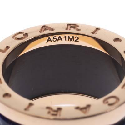 Bvlgari B.Zero1 Lapis Lazuli 18K Rose Gold Band Ring Size 48 294408 - 5
