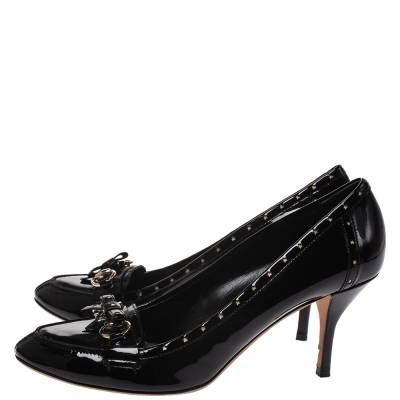 Gucci Black Patent Leather Horsebit Star Bow Peep Toe Loafer Pumps Size 41 294314 - 3
