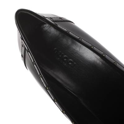 Gucci Black Patent Leather Horsebit Star Bow Peep Toe Loafer Pumps Size 41 294314 - 6