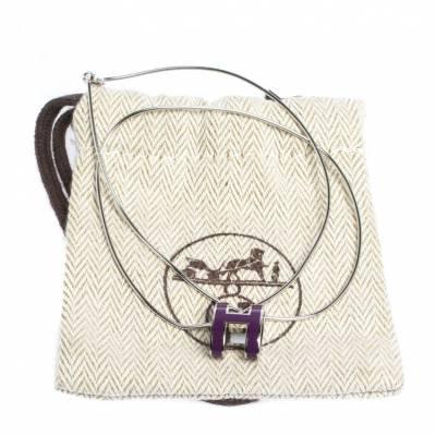 Hermes Pop H Purple Lacquer Palladium Plated Pendant 292783 - 5