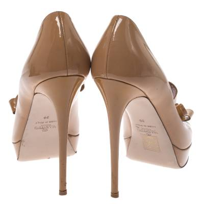 Valentino Beige Patent Leather Bow Peep Toe Platform Pumps Size 39 294316 - 4