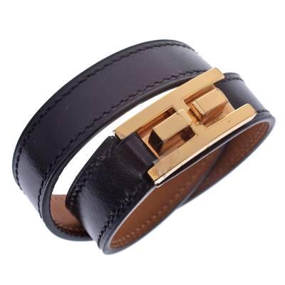 Hermes Drag Double Tour Black Leather Gold Plated Wrap Bracelet 294229 - 2