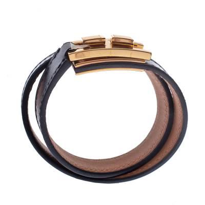 Hermes Drag Double Tour Black Leather Gold Plated Wrap Bracelet 294229 - 3