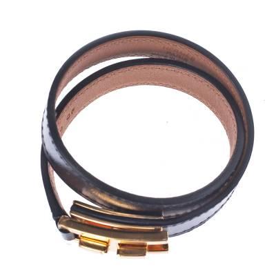 Hermes Drag Double Tour Black Leather Gold Plated Wrap Bracelet 294229 - 4