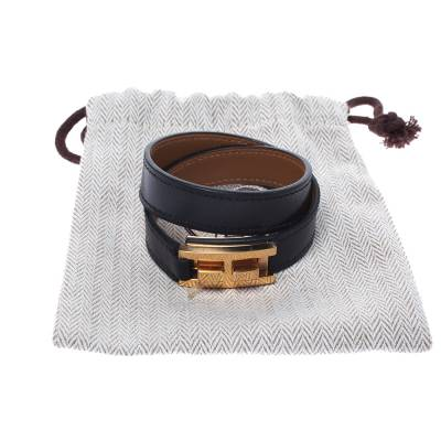 Hermes Drag Double Tour Black Leather Gold Plated Wrap Bracelet 294229 - 5