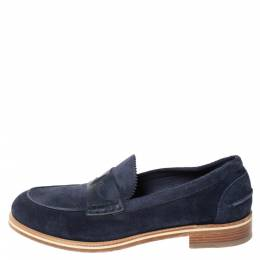 Christian Louboutin Blue Suede Montezumolle Flat Loafers Size 41.5 294642