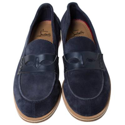 Christian Louboutin Blue Suede Montezumolle Flat Loafers Size 41.5 294642 - 2