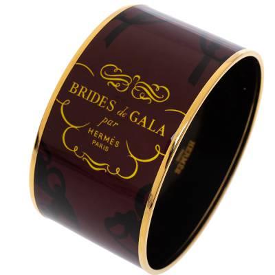 Hermes Brides De Gala Tattoo Printed Enamel Extra Wide Bangle Bracelet 294218 - 2