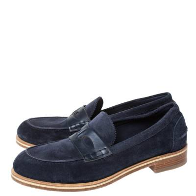 Christian Louboutin Blue Suede Montezumolle Flat Loafers Size 41.5 294642 - 3