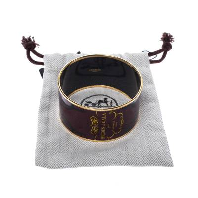 Hermes Brides De Gala Tattoo Printed Enamel Extra Wide Bangle Bracelet 294218 - 6