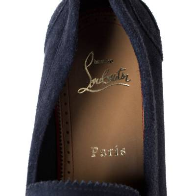 Christian Louboutin Blue Suede Montezumolle Flat Loafers Size 41.5 294642 - 6